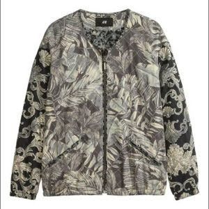 H&M Pilot Paisley Leaf Jacket Lightweight Quilted